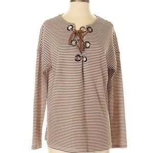 CoverStitched Brown Cream Grommet Lace Up Sweater